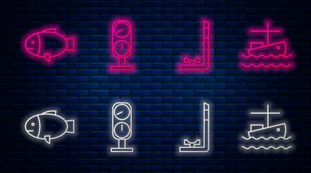 Set line Gauge scale, Snorkel, Fish and Fishing boat on water. Glowing neon icon on brick wall. Vector
