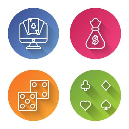 Set line Online poker table game, Money bag, Game dice and Playing cards. Color circle button. Vector