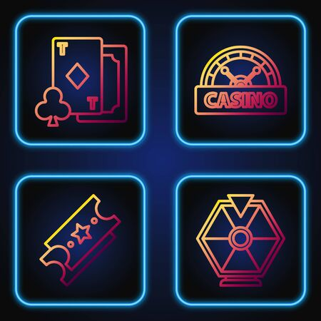 Set line Lucky wheel, Lottery ticket, Playing card with diamonds and Casino signboard. Gradient color icons. Vector Illustration
