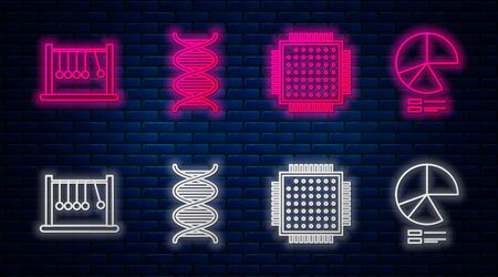 Set line DNA symbol, Processor, Pendulum and Pie chart infographic. Glowing neon icon on brick wall. Vector Ilustrace