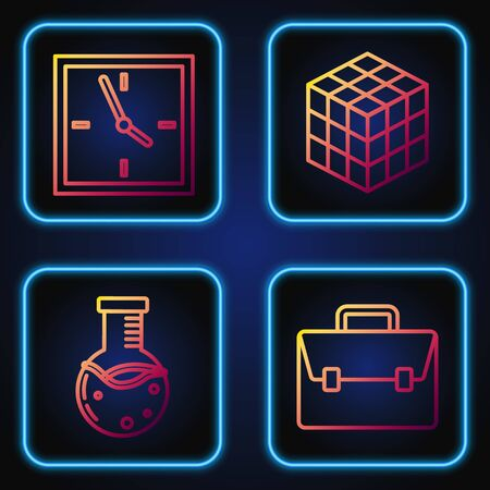Set line Briefcase, Test tube and flask chemical laboratory, Clock and Rubik cube. Gradient color icons. Vector