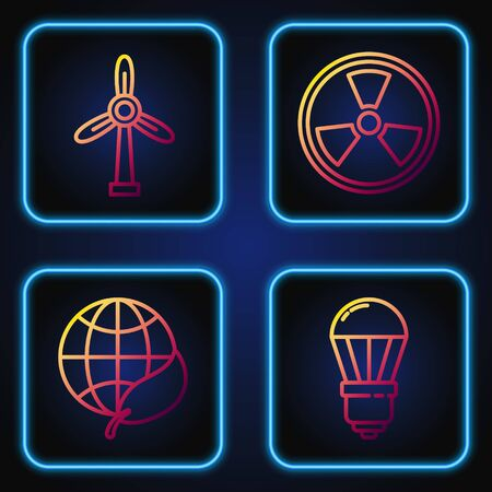 Set line LED light bulb, Earth globe and leaf, Wind turbine and Radioactive. Gradient color icons. Vector