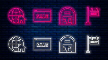 Set line Hanging sign with text Online Sale, Warehouse, Globe with house symbol and Hanging sign with text Rent. Glowing neon icon on brick wall. Vector Vektoros illusztráció