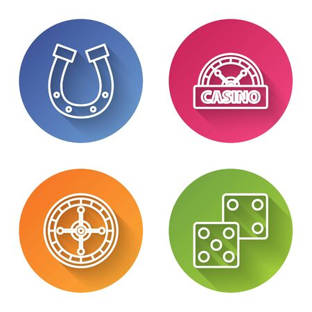Set line Horseshoe, Casino signboard, Casino roulette wheel and Game dice. Color circle button. Vector