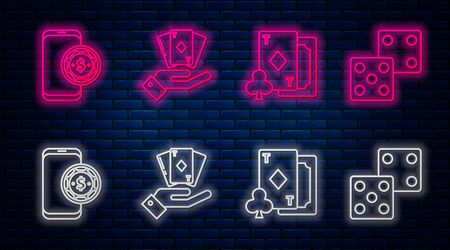 Set line Hand holding deck of playing cards, Playing card with diamonds, Online poker table game and Game dice. Glowing neon icon on brick wall. Vector Illustration
