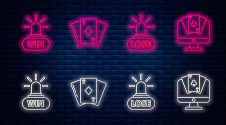 Set line Playing card with diamonds, Casino losing, Casino win and Online poker table game. Glowing neon icon on brick wall. Vector Illustration