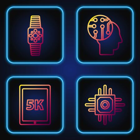 Set line Processor, Tablet with text 5k, Smartwatch and Human brain as digital circuit board. Gradient color icons. Vector Ilustrace