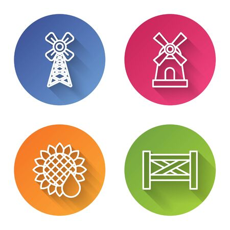 Set line Windmill, Windmill, Sunflower and Garden fence wooden. Color circle button. Vector