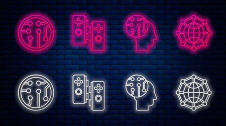 Set line Gamepad, Human brain as digital circuit board, Processor and Global technology or social network. Glowing neon icon on brick wall. Vector