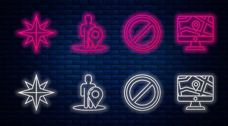 Set line Map marker with a silhouette of a person, Stop sign, Wind rose and Monitor and folded map with location. Glowing neon icon on brick wall. Vector Illustration