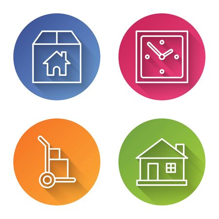 Set line Cardboard box with house, Clock, Hand truck and boxes and House. Color circle button. Vector Ilustrace