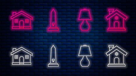 Set line Washington monument, Table lamp, House and House. Glowing neon icon on brick wall. Vector