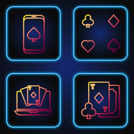 Set line Playing card with diamonds, Online poker table game, Online poker table game and Playing cards. Gradient color icons. Vector