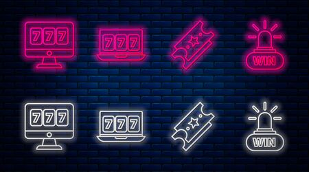 Set line Online slot machine with lucky sevens jackpot, Lottery ticket, Online slot machine with lucky sevens jackpot and Casino win. Glowing neon icon on brick wall. Vector Illustration