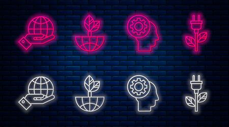 Set line Earth globe and leaf, Human head with gear inside, Human hands holding Earth globe and Electric saving plug in leaf. Glowing neon icon on brick wall. Vector