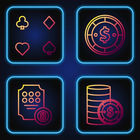Set line Casino chip with dollar, Online slot machine, Playing cards and Casino chip with dollar. Gradient color icons. Vector Illustration