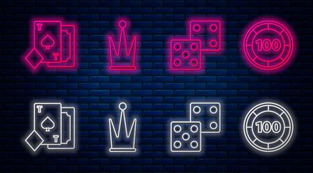 Set line Crown, Game dice, Playing card with spades and Casino chips. Glowing neon icon on brick wall. Vector