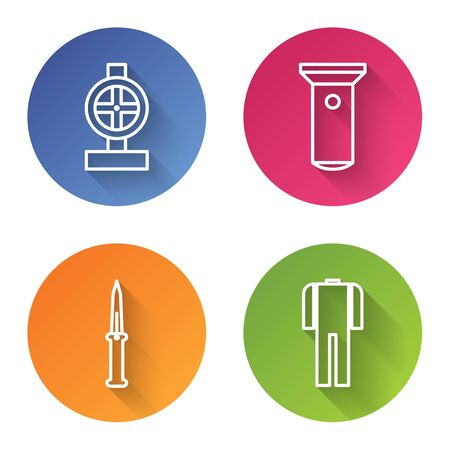 Set line Industry metallic pipes and valve, Flashlight, Army knife and Wetsuit for scuba diving. Color circle button. Vector Ilustração
