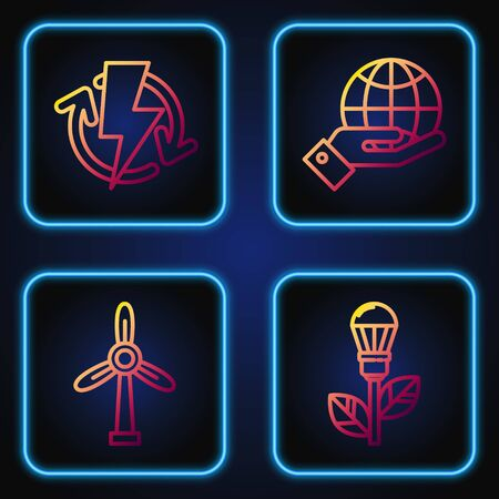 Set line Light bulb with leaf, Wind turbine, Recharging and Human hands holding Earth globe. Gradient color icons. Vector