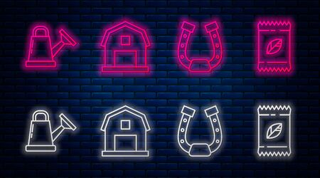 Set line Farm House concept, Horseshoe, Watering can and A pack full of seeds of a specific plant. Glowing neon icon on brick wall. Vector Ilustração