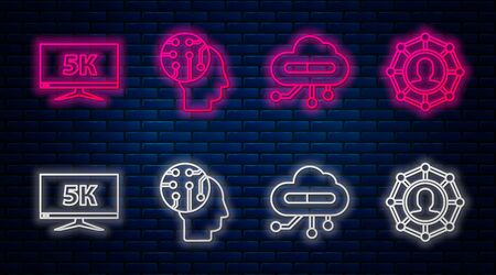 Set line Human brain as digital circuit board, Internet of things, Monitor display with 5k video and Project team base. Glowing neon icon on brick wall. Vector Illustration