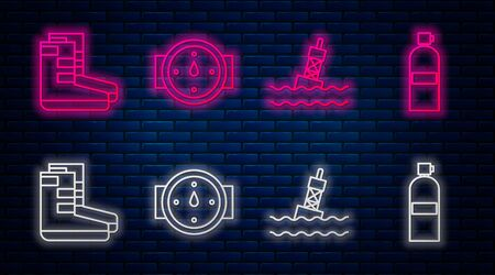 Set line Wind rose, Floating buoy on the sea, Boots and Aqualung. Glowing neon icon on brick wall. Vector