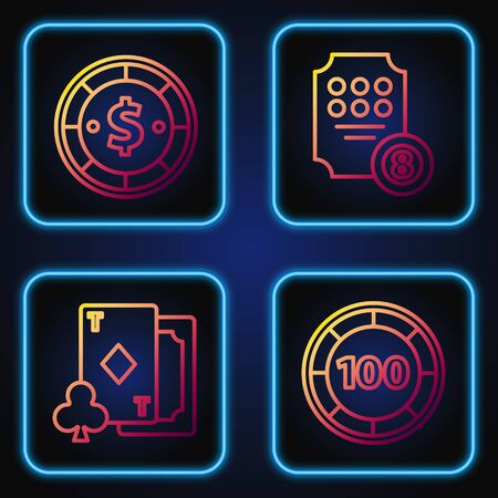 Set line Casino chips, Playing card with diamonds, Casino chip with dollar and Online slot machine. Gradient color icons. Vector