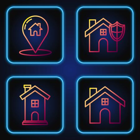 Set line House, Home symbol, Map pointer with house and House with shield. Gradient color icons. Vector Ilustrace