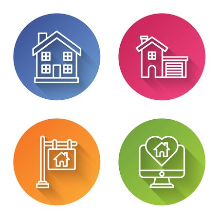Set line Home symbol, House, Hanging sign with text Sale and Monitor with house in heart shape. Color circle button. Vector