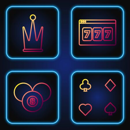 Set line Playing cards, Billiard pool snooker 8 ball, Crown and Online slot machine with lucky sevens jackpot. Gradient color icons. Vector