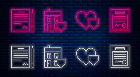 Set line House with shield, Heart with shield, Contract with pen and Filled form. Glowing neon icon on brick wall. Vector