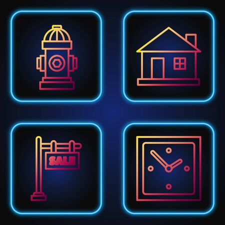 Set line Clock, Hanging sign with text Sale, Fire hydrant and House. Gradient color icons. Vector Ilustrace