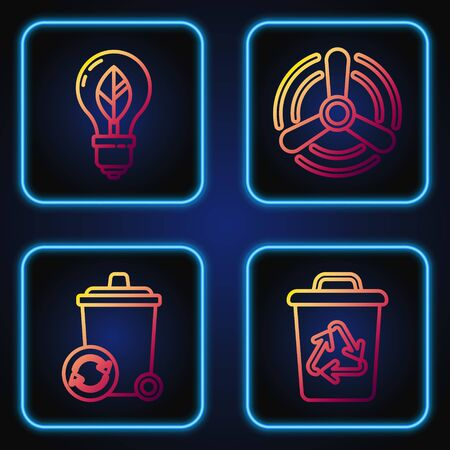 Set line Recycle bin with recycle symbol, Recycle bin with recycle symbol, Light bulb with leaf and Wind turbine. Gradient color icons. Vector