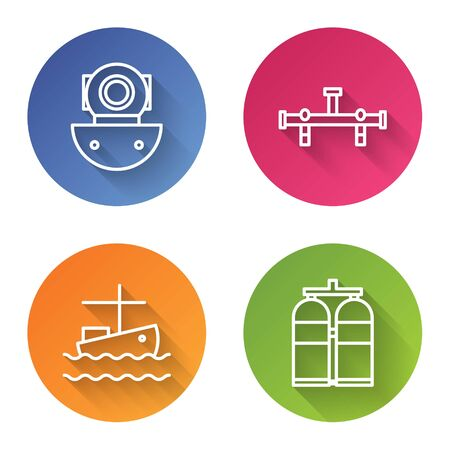 Set line Aqualung, Manifold, Fishing boat on water and Aqualung. Color circle button. Vector