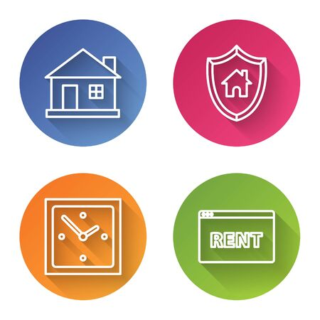 Set line House, House with shield, Clock and Hanging sign with text Online Rent. Color circle button. Vector