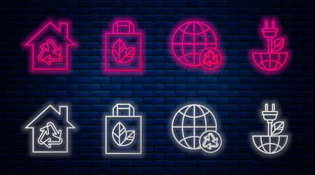 Set line Paper shopping bag with recycle, Planet earth and a recycling, Eco House with recycling symbol and Electric saving plug in leaf. Glowing neon icon on brick wall. Vector
