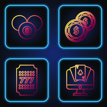 Set line Online poker table game, Slot machine with lucky sevens jackpot, Billiard pool snooker 8 ball and Casino chip with dollar. Gradient color icons. Vector
