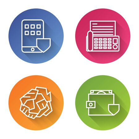 Set line Smartphone insurance, Fax machine, Crumpled paper ball and Wallet and money with shield. Color circle button. Vector