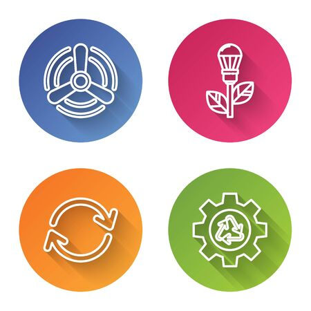 Set line Wind turbine, Light bulb with leaf, Refresh and Recycle symbol and gear. Color circle button. Vector