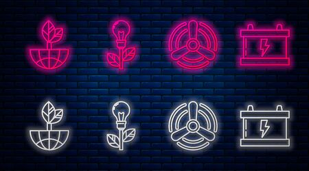 Set line Light bulb with leaf, Wind turbine, Earth globe and leaf and Car battery. Glowing neon icon on brick wall. Vector 일러스트
