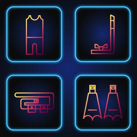 Set line Rubber flippers for swimming, Diving belt, Wetsuit for scuba diving and Snorkel. Gradient color icons. Vector Ilustração