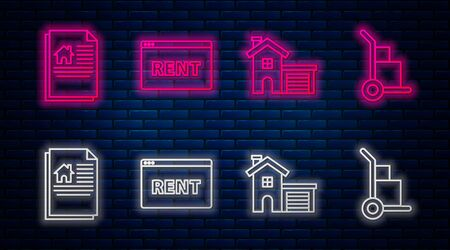 Set line Hanging sign with text Online Rent, House, House contract and Hand truck and boxes. Glowing neon icon on brick wall. Vector Ilustrace