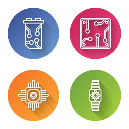 Set line Video graphic card, Processor, Processor and Smartwatch. Color circle button. Vector Ilustrace