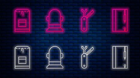 Set line Buoy, Swiss army knife, Backpack and Underwater note book and pencil. Glowing neon icon on brick wall. Vector