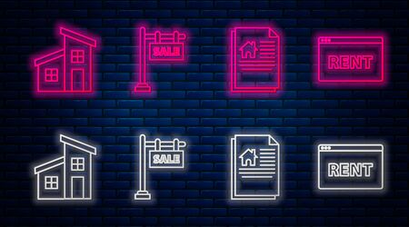 Set line Hanging sign with text Sale, House contract, House and Hanging sign with text Online Rent. Glowing neon icon on brick wall. Vector Ilustrace