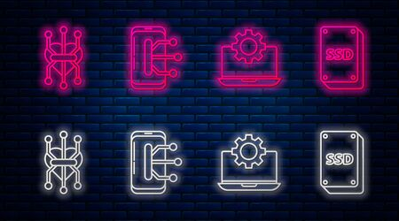 Set line Smartphone, mobile phone, Laptop and gear, Processor and SSD card. Glowing neon icon on brick wall. Vector
