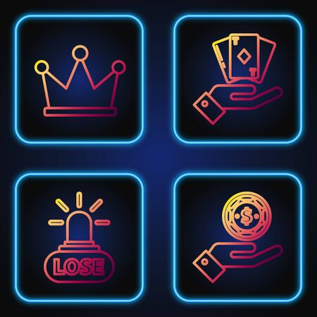 Set line Hand holding casino chips, Casino losing, Crown and Hand holding deck of playing cards. Gradient color icons. Vector