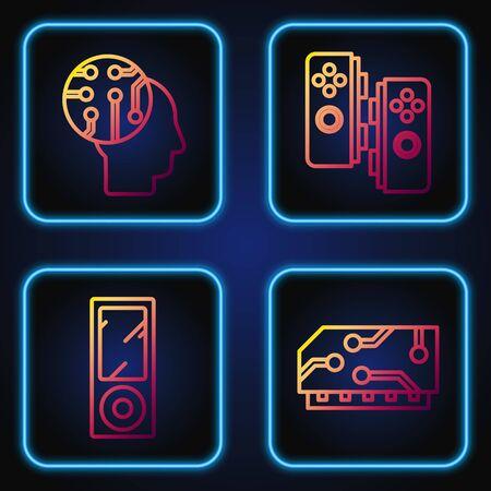 Set line RAM, random access memory, Music player, Human brain as digital circuit board and Gamepad. Gradient color icons. Vector