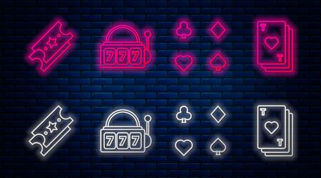 Set line Slot machine with lucky sevens jackpot, Playing cards, Lottery ticket and Playing card with heart. Glowing neon icon on brick wall. Vector