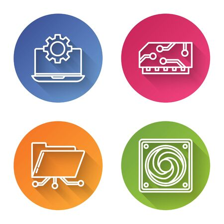 Set line Laptop and gear, RAM, random access memory, Folder and lock and Computer cooler. Color circle button. Vector